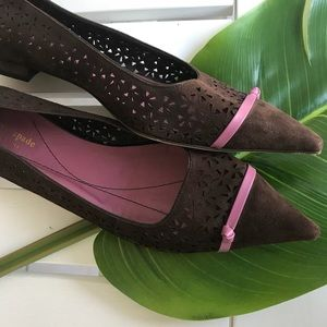 KATE SPADE BROWN SUEDE LASER CUT OUT FLATS